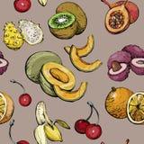 Экзотическая безшовная картина с плодоовощ лета Стоковые Фотографии RF