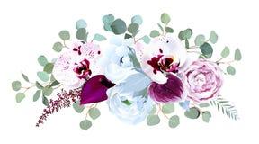 Экзотическая запятнанная орхидея, антуриум, пурпурная роза, ветреница, eucalyp иллюстрация штока
