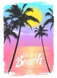 Экзотическая предпосылка перемещения с пальмами Печать лета для футболки Иллюстрация вектора
