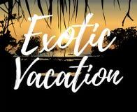 Экзотические каникулы, тропический заход солнца на береге моря Стоковое Изображение