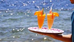 Экзотические коктейли в стекле с соломой на подносе на предпосылке моря E акции видеоматериалы