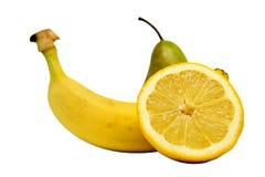 Экзотический банан груши лимона тропического плодоовощ установленный Стоковая Фотография