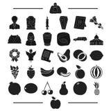 Экзотический, похоронный, отдыхая и другой значок сети в черном стиле яблоко, плодоовощи, значки овощей в собрании комплекта иллюстрация вектора