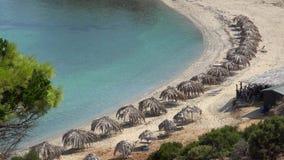 Экзотический праздник на идилличном пляже с зонтиками и чистыми водами пальмы соломы, уединённый курорт, никто видеоматериал
