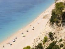 Экзотический пляж в Ionion Греции Греческий названный пляж Egremni Стоковые Изображения RF
