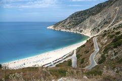 Экзотический пляж Myrtos Kefalonia Стоковые Фотографии RF