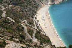 Экзотический пляж Myrtos Kefalonia Стоковая Фотография RF