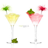 2 экзотических коктеиля лимон и грейпфрут Granita Стоковая Фотография