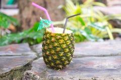Экзотическое colada pina коктеиля в ананасе Стоковое Изображение RF