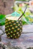 Экзотическое colada pina коктеиля в ананасе Стоковые Фото