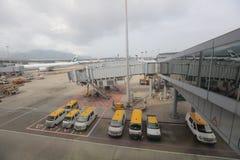 Экипажи багажа взлётно-посадочная дорожка, пустые подготавливают к нагруженный Стоковые Фото