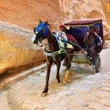 Экипаж в ущелье, каньон лошади Siq в Petra Стоковая Фотография RF