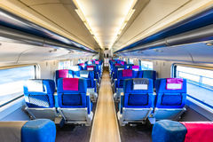 Экипаж интерьера пассажирского поезда Стоковое Изображение