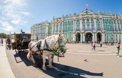 Экипаж, нарисованный 2 лошадями, стоит на квадрате дворца Стоковые Изображения RF