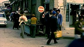Экипаж осла рынка городка Газа сток-видео