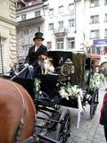 Экипаж свадьбы в Lucern, Швейцарии Стоковое Фото