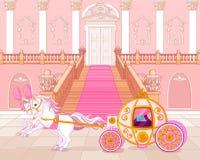 Экипаж сказки розовый иллюстрация вектора