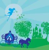 Экипаж с принцессой идет к волшебному замку Стоковое Изображение RF