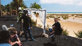 Экипаж ТВ на комплекте стоковая фотография rf