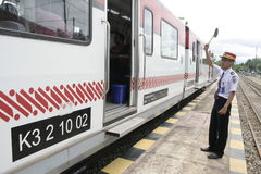 Экипаж Railbus в станциях Sukoharjo Стоковое Фото