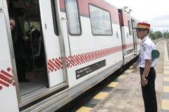 Экипаж Railbus в станциях Sukoharjo Стоковые Изображения