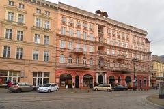 Эклектичное здание гостиницы в Bydgoszcz, Польше стоковая фотография rf