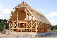 экологическая дом деревянная Стоковое Изображение