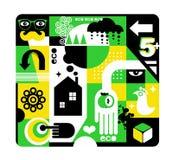 Экологическая предпосылка в зеленых желтых цветах r иллюстрация штока