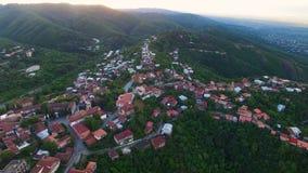 Экологический туризм в Georgia, завораживающий вид с воздуха красивого городка Sighnaghi сток-видео
