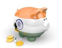Экономика Индии и концепция финансов для безработицы, бедности, и государственной задолженности Стоковая Фотография RF