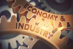 Экономика и индустрия на золотых шестернях Cog иллюстрация 3d Стоковые Фотографии RF