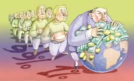 Экономика немногих против много одних иллюстрация вектора