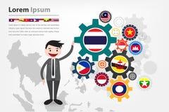 Экономическая шестерня управляя в стране АСЕАН (aec) Стоковое Изображение RF