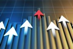 Экономические показатели и двигают вперед с стрелкой стоковое изображение