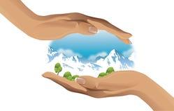 Экологическая иллюстрация вектора 2 рук защищая окружающую среду Стоковые Фотографии RF