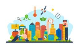 Экологическая концепция города Новая дружественная к эко технология, инфраструктура, сообщение, технологический прогресс иллюстрация штока