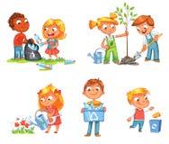 Экологический дизайн детей персонаж из мультфильма смешной иллюстрация штока