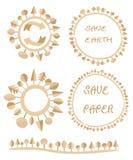 Экологический плоский бумажный круг дерева дела земли рециркулирует предпосылку логотипа элемента вектора глобуса eco Стоковое Фото