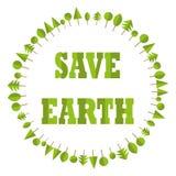Экологический плоский круг дерева дела земли спасения бумаги рециркулирует предпосылку логотипа элемента вектора глобуса eco иллюстрация штока