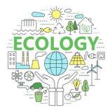 Экологичность и иллюстрация концепции окружающей среды, тонкая линия плоский des Стоковое Изображение
