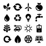 Экологичность и рециркулирует установленные значки вектор Стоковое Изображение