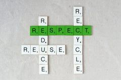 Экологичность и устойчивость: рециркулируйте, уменьшите, повторно используйте и уважать Стоковое фото RF