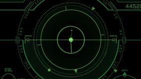 экранный дисплей техника сигнала GPS радиолокатора 4k, навигация компьютера данным по научной фантастики науки иллюстрация вектора