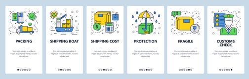 Экраны вебсайта onboarding Всемирная доставка, грузовой корабль и таможня Шаблон знамени вектора меню для вебсайта и бесплатная иллюстрация