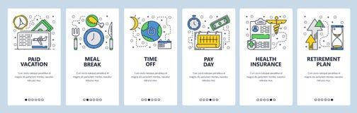 Экраны вебсайта onboarding Перерыв на ланч, время на каникулы, расчетный день, план retirenment Шаблон знамени вектора меню для бесплатная иллюстрация
