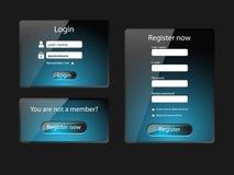 Экраны имени пользователя и сети регистра Стоковые Изображения RF