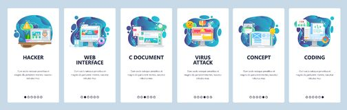 Экраны мобильного приложения onboarding Сеть и разработка программного обеспечения Безопасность кибер, кодирвоание, нападение вир иллюстрация вектора