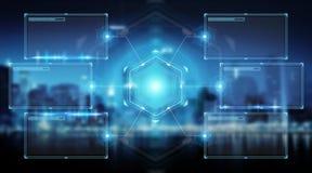 Экраны цифров взаимодействуют с переводом данным по 3D holograms Стоковые Изображения
