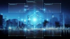 Экраны цифров взаимодействуют с переводом данным по 3D holograms Стоковые Фотографии RF