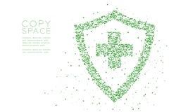 Экран абстрактной геометрической картины пиксела квадратной коробки медицинский с перекрестной формой знака, illustrati зеленого  Стоковая Фотография RF